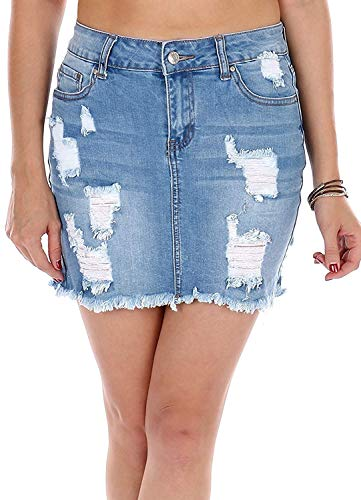 (Wax Distressed Skirt Premium Quality High Waist Heels Skirts (Light Denim,)