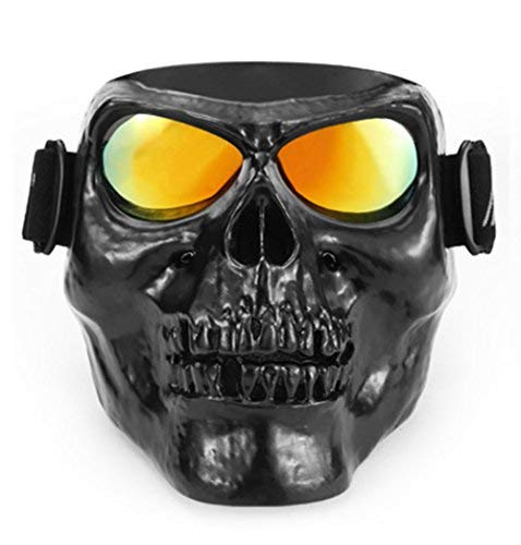 Ishowstore Motorbike Motorcycle Off-Road Riding Goggles Glasses With Skull Face Mask Open Face Helmet (Black skull with red lens)