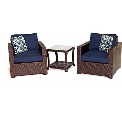 - Hanover Outdoor Metropolitan 3 Piece Chat Set, Navy Blue
