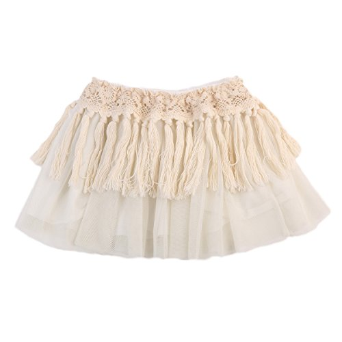 tu Skirt Lace Tassel Dress-Up Princess Layers Tulle Skirt (6-12 Months, Beige) (Beautiful Baby Lace Skirt)