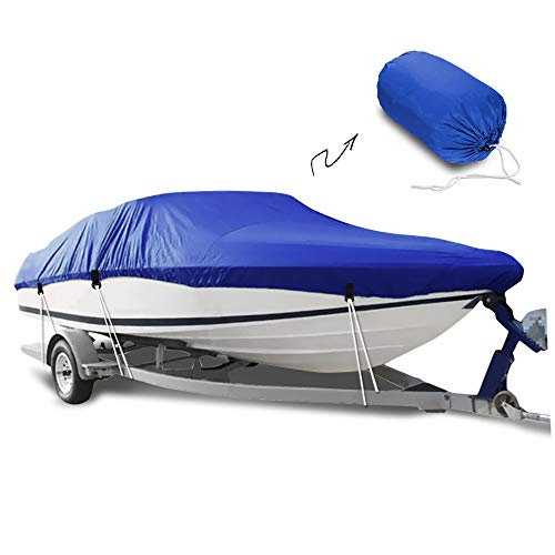 V-hull Runabout Bow - HOMEYA Boat Cover, Heavy Duty Marine Grade Polyester Trailerable Waterproof Fishing Boat Cover Fit for V-Hull Runabout Tri-Hull All Weather Outdoor Protector 14ft-16ft Long