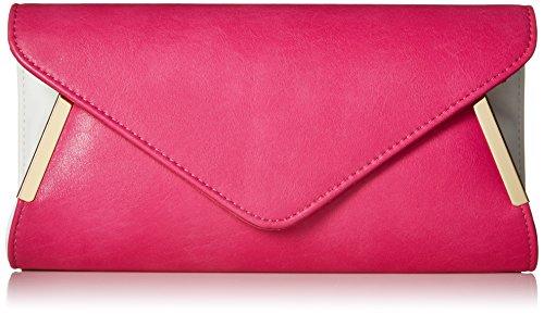 Sac Métal Fuchsia BMC Main Rose Femmes À Accent Synthétique Mode Cuir Enveloppe Pochette Blanc Rabat qXqzCw