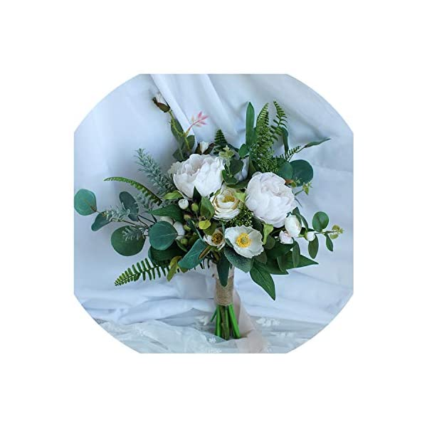 entertainment-moment-flower Summer Wedding Bouquets Peonies Rose Elegant Boho Eucalyptus Bridal Bouquet with Peony Green Bridesmaid Bouquet Flowers,As Show