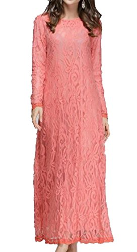 Dresses Maxi Chiffon Party Jaycargogo Cocktail Lace Evening Floral Women's Dress Casual Sleeve Long Pink Long rqXfIX