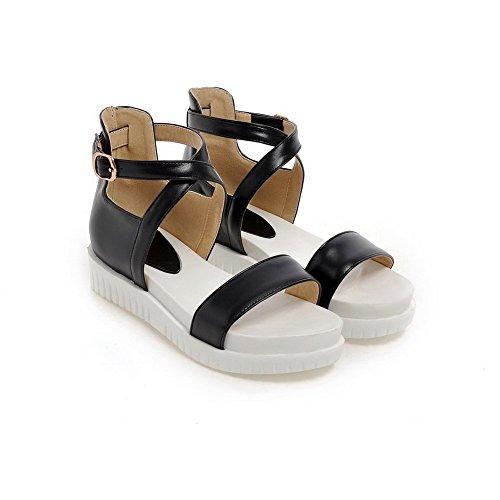BalaMasa Girls Open-Toe Buckle Soft Material Sandals Black 8btWAv7R