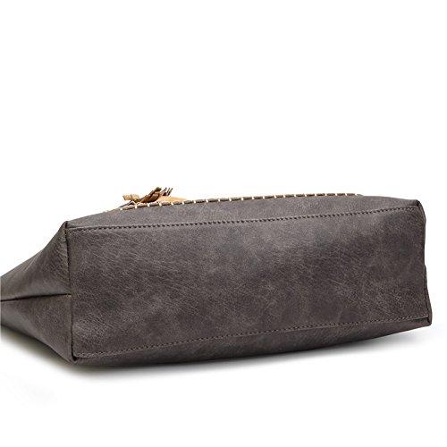 Bolso elegante oscuro Retro marrón Brown compras diario Causal Totes Dark bolso PU femenino Mujer de dama Vintage Borla HwntqARA