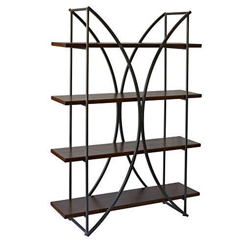 StyleCraft Elliptical 4 Shelf Metal Bookcase with Paulownia Wood Veneer Shelves Review