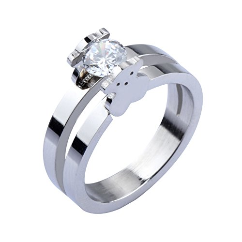 Steel Bear Stainless (SEVEN MALL Teddy Bear Cubic Zirconia Cz Stainless Steel Ring Two Tone for Girl (6))