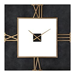 Oversize Black Concrete Square Wall Clock | Gold Open Mid Century Modern Industrial