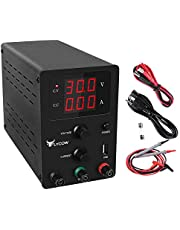 Flycow DC Power Supply Variable, Adjustable 30V 10A Switching DC Regulated Power Supply with 3 Digit LED Display Reverse Polarity/High Temperature Protection 110V/100CM Alligator Leads Included