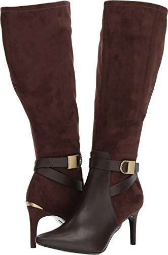 Calvin Klein Women's Jemamine Coffee Bean Cow Silk/Microsuede Wide Calf 5.5 M US