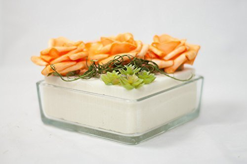 Viereckige Tischdeko In Orange Weiss Tischgesteck Kunstliche Blumen