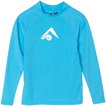 Kanu Surf Big Boys' Platinum Long Sleeve Rashguard, Aqua, Small (8)
