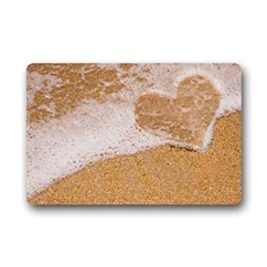 DearHouse Decorative Beach Theme Door Mats Cover Non-slip Lover Heart Romantic Design Outdoor Indoor Bathroom Kitchen Decor Rug Mat 15.7inch By 23.6inch