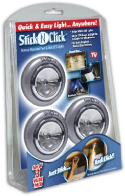 Stick N Click Anywhere Lights White Set Of 3 by OnTel