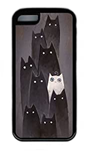 LJF phone case iPhone 5C Case, Personalized Protective Rubber Soft TPU Black Edge Case for iphone 5C - I Am White Cat Cover