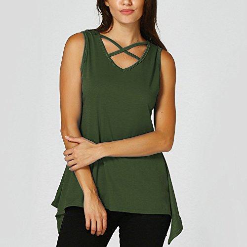 Maniche E Canotte T Criss Scollo Moretime shirt Green Croce Donne Top Irregolare Anteriore Tops V Solido Army Senza A Camicetta 74Fnq5