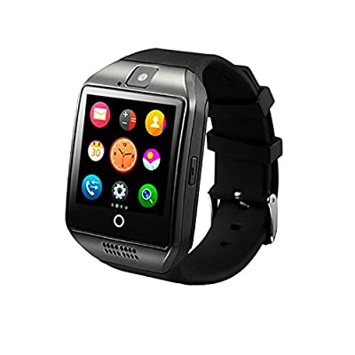Smartwatch Android, Smart Watch iPhone Compatible, Bluetooth Smart Watches Touchscreen, Unlocked Watch Support SIM TF Card with Call Text Notification Sync Sleep Monitor for Samsung iPhone 7 6S(BLACK)