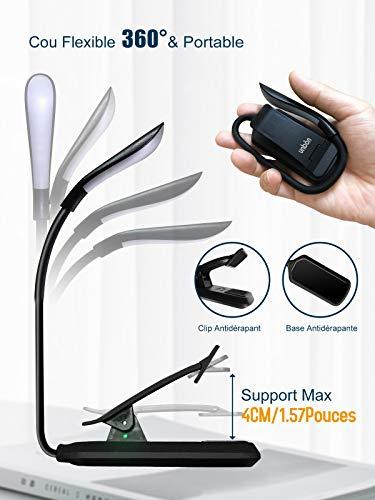 Lampe de Lecture Rechargeable, UNBON Lampe Liseuse pour Livre 7 LED USB avec 3 Couleurs 3 Niveaux de Luminosité…