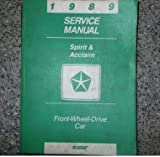 1989 89 DODGE SPIRIT Service Repair Shop Manual FACTORY DEALERSHIP OEM BOOKS