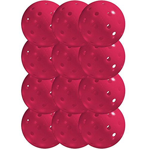 Franklin Sports X-40 Pickleballs - Outdoor Pickleballs - 12 Pack Bulk - USAPA Approved - Pink