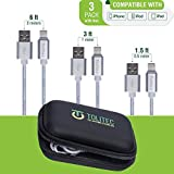 Tolitec Phone Cable | Nylon Braided Silver | 3pack Travel Case Included | Fast Cord High Speed Data and Sync Transfer | Connector Cable Compatible with Apple Device