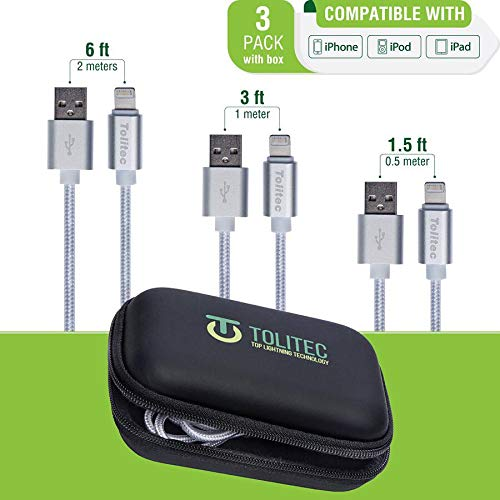 Tolitec A+ USB Connector Cable | 3 Pack 1.5FT, 3FT, 6FT with Travel case | Nylon Braided Cord Silver Compatible with Any Apple Device