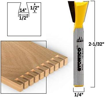 Yonico Schwalbenschwanzfräser-Bit, 14114q, 14°, Breite: 12,7 mm (1/2 Zoll), Länge: 12,7 mm (1/2 Zoll), Schaft: 6,4 mm (1/4 Zoll)