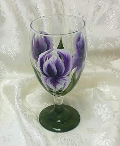- Hand Painted Glass Goblet With Purple Iris