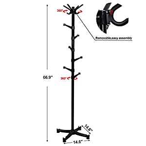 SONGMICS Coat Rack Hall Tree with 14 Plastic Swivel Hooks for Clothes Hats Bags Scarves