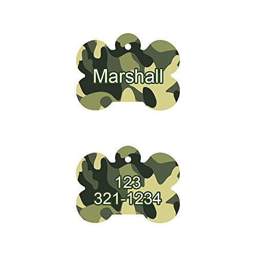 - Cute Camo Background Pet ID Tag Bone Shaped, Customized Information Badge for Dogs and Cats, Please don't forget to give us the Name and Information for the Tag, by Little Paw Store LLC