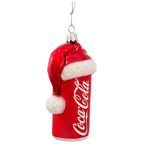 Ornament Santa Hat Glass (Coca-Cola Kurt Adler 4-1/2-Inch Glass Can with Santa Hat Ornament)