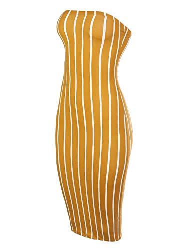 BEYONDFAB Women's Super Sexy Comfortable Tube Top Body-Con Midi Dress Mustard L