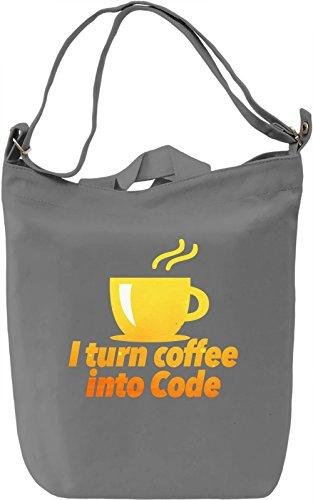 I Turn Coffee Into Code Borsa Giornaliera Canvas Canvas Day Bag| 100% Premium Cotton Canvas| DTG Printing|
