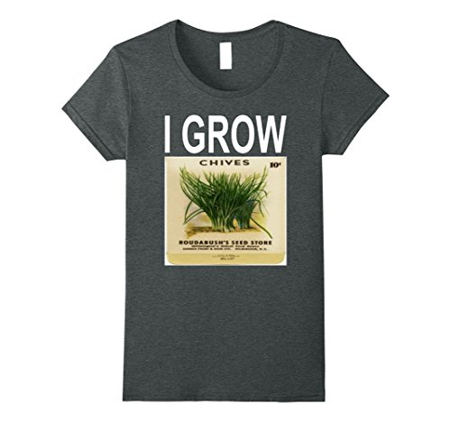 Womens I Grow Chives Vintage Seed Packet Gardening T-Shirt XL Dark Heather - Chives 100 Seeds