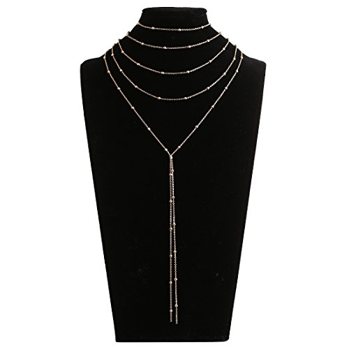 Lariatneck Layered Long Pendant Y Necklace Gold Multi Layered 4-in-1 Bead Accent Lariat Necklace for Women