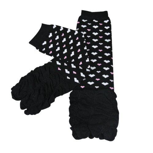 - Wrapables Dots, Hearts, and Ruffles Colorful Baby Leg Warmers - Hearts Ruched Black