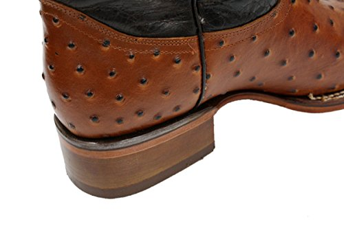 Dona Michi Men Genuine Cowhide Leather Square Toe Ostrich Print Western Cowboy Boots Tan clearance lowest price uNys48gU