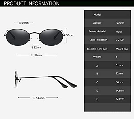 2447e739aa Amazon.com  Morrenz - Fashion Vintage Small Oval Sunglasses Women Metal Mirror  Female Sun Glasses Red Gold Retro Ladies Oculos Eyewear  C1 Black Gray     ...