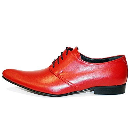 Modello Polipo - Cuero Italiano Hecho A Mano Hombre Piel Rojo Zapatos Vestir Oxfords - Cuero Cuero suave - Encaje