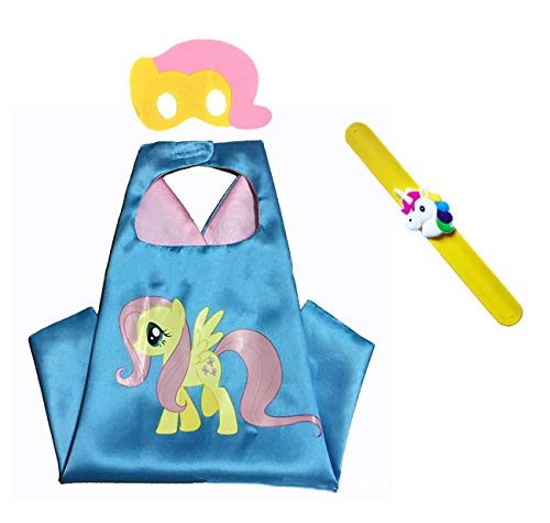 Raclove My Little Pony Costume Set-Cape, Mask and Pops Ring. for Age 4-10 Kids Boys and Girls. Wonderful Dressing up Gifts for Halloween Birthday Party Superhero Day and Play Day (Fluttershy) -