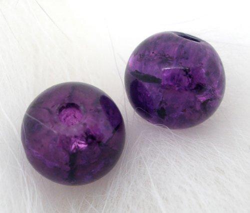 Housweety 200 Purple Crackle Glass Round Beads 6mm Dia. - Purple Glass Beads