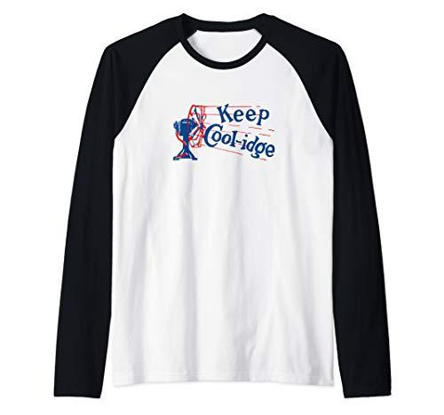 President Calvin Coolidge Vintage Political Campaign Button Raglan Baseball Tee