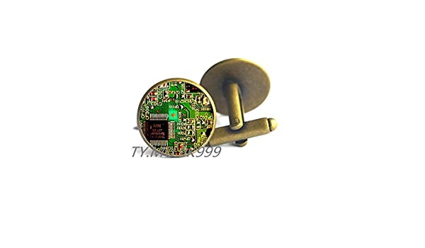Yao0dianxku Circuit Board Cuff Links.Printed Circuit Board Electronic Cufflinks.PCB Computer Board Jewelry Y011