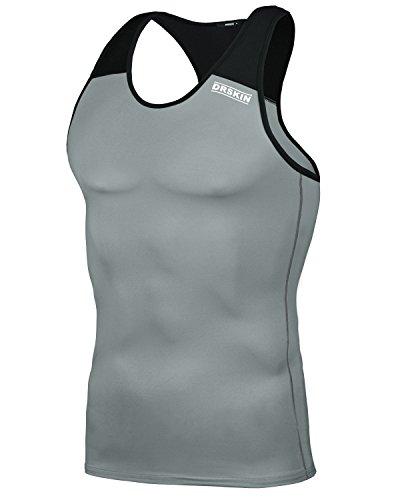 DRSKIN Undershirts Running Shirt Tank Tops Men's Cool Dry Compression Baselayer Sleeveless (Manggo G-B02 - Running Team Shirts