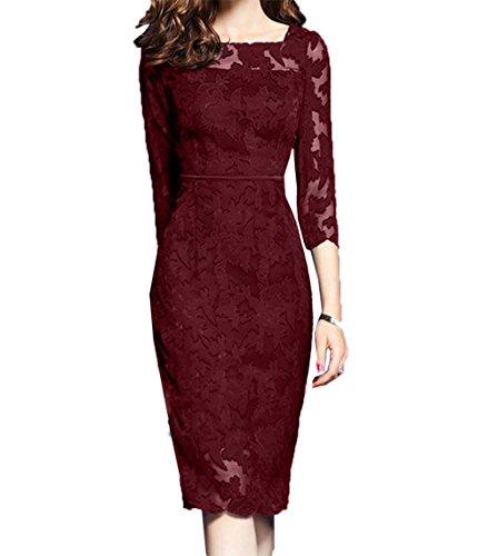 Damen Brautjungfernkleider Etuikleider Festlichkleider Rock Knielang Abendkleider Charmant Burgundy Partykleider Kurzes UwqZUgd