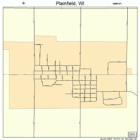 Amazon Com Large Street Road Map Of Plainfield Wisconsin Wi