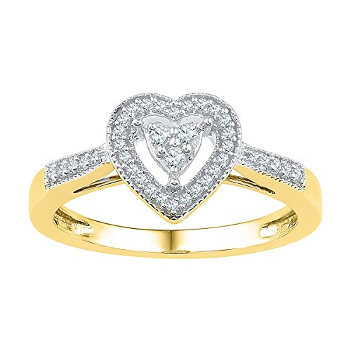 Jewels By Lux 10kt Yellow Gold Womens Round Diamond Heart Cluster Ring 1/5 Cttw Ring Size 9.5