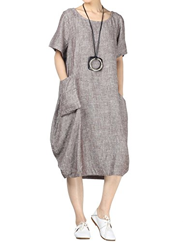 (Mordenmiss Women's Cotton Linen Dresses Short Sleeve Baggy Loose Summer Clothing w/Hi-Low Pockets XL Coffee)