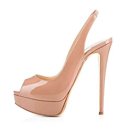 Onlymaker Women Slingbacks Peep Toe Sandals 1 inch Platform 6.2 inch Hight Heel Pumps Shoes in Party Nude US10